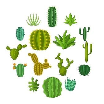 Jeu d'icônes de cactus vert, style cartoon