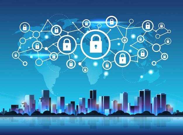 Jeu d'icônes de cadenas système de sécurité réseau