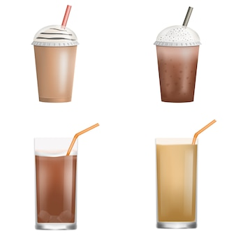 Jeu d'icônes de café de glace fraîche. ensemble réaliste d'icônes vectorielles de café de glace fraîche pour la conception web isolée sur fond blanc