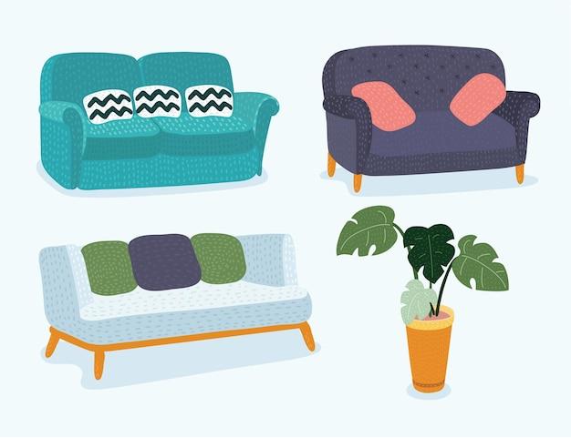 Jeu d'icônes de canapé illustration vectorielle eps