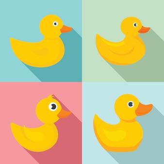 Jeu d'icônes de canard jaune, style plat