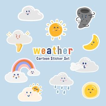 Jeu d'icônes de caractère météo dessin animé mignon personnages de dessin animé et doodle