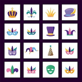 Jeu d'icônes de carnaval de mardi gras isolé à l'intérieur des cadres