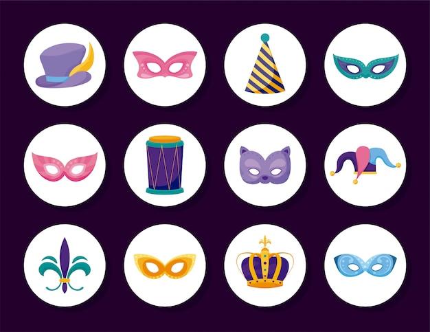 Jeu d'icônes de carnaval de mardi gras isolé à l'intérieur des cercles