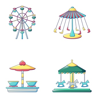 Jeu d'icônes de carrousel, style cartoon