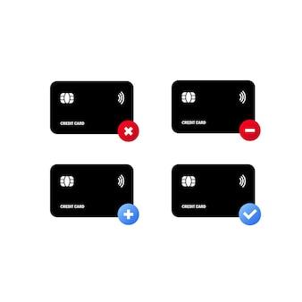 Jeu d'icônes de carte de crédit noir. approuvé pour le paiement. transactions et paiements.