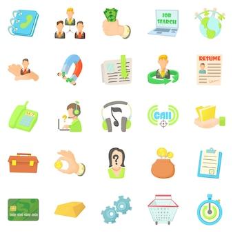 Jeu d'icônes de carte de crédit, style cartoon