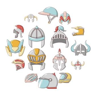 Jeu d'icônes de casque, style cartoon