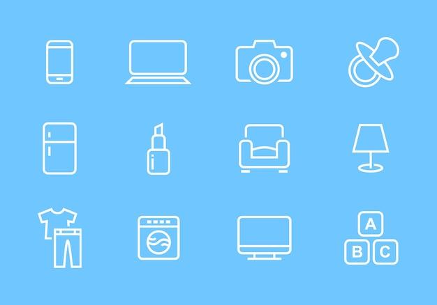 Jeu d'icônes de catégories de boutique en ligne