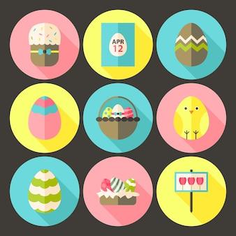 Jeu d'icônes de cercle de style plat de pâques 1 avec ombre portée. illustrations colorées de vecteur de cercle stylisé plat