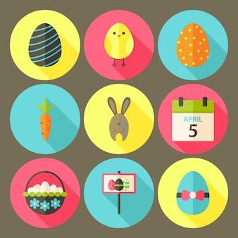 Jeu d'icônes de cercle de style plat de pâques 6 avec ombre portée. illustrations colorées de vecteur de cercle stylisé plat