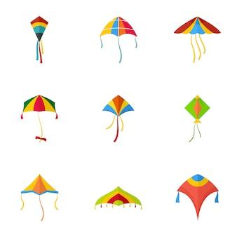 Jeu d'icônes de cerf-volant coloré, style plat
