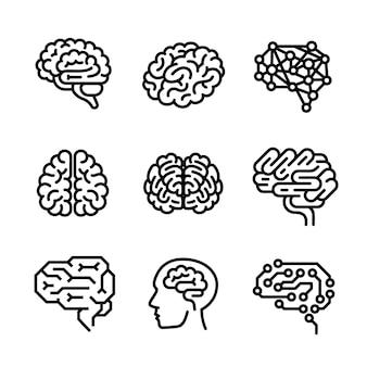 Jeu d'icônes de cerveau, style de contour