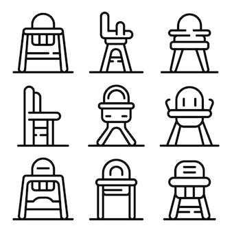 Jeu d'icônes de chaise d'alimentation