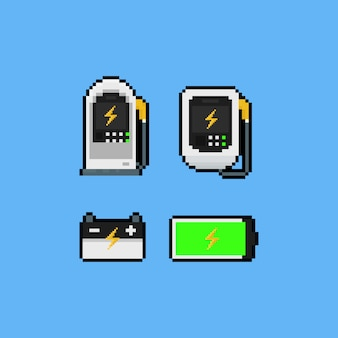 Jeu d'icônes de chargeur de voiture électrique pixel art.