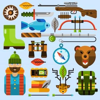 Jeu d'icônes de chasse et de pêche