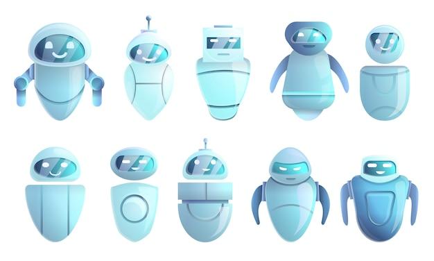 Jeu d'icônes chatbot, style cartoon