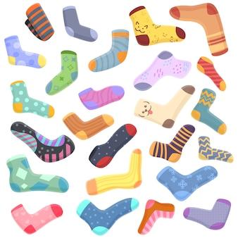 Jeu d'icônes de chaussettes, style cartoon