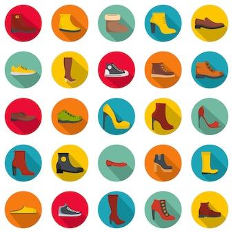 Jeu d'icônes de chaussures chaussures, style plat
