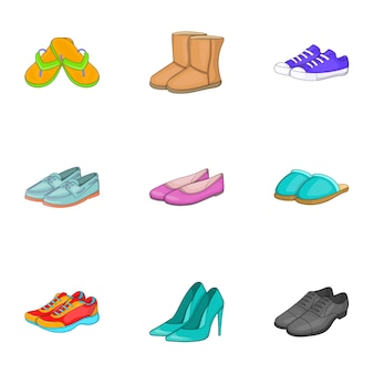Jeu d'icônes de chaussures, style cartoon