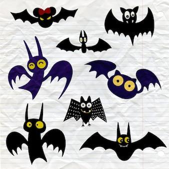 Jeu d'icônes de chauve-souris halloween noir. silhouettes de chauves-souris. symbole d'halloween