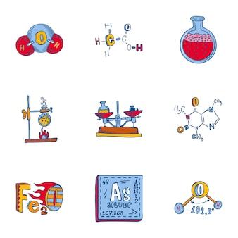Jeu d'icônes de chimie. ensemble dessiné à la main de 9 icônes de chimie