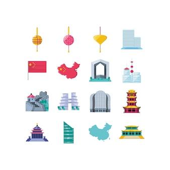 Jeu d'icônes chinois isolé