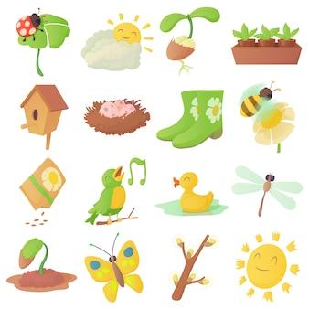 Jeu d'icônes de choses de printemps