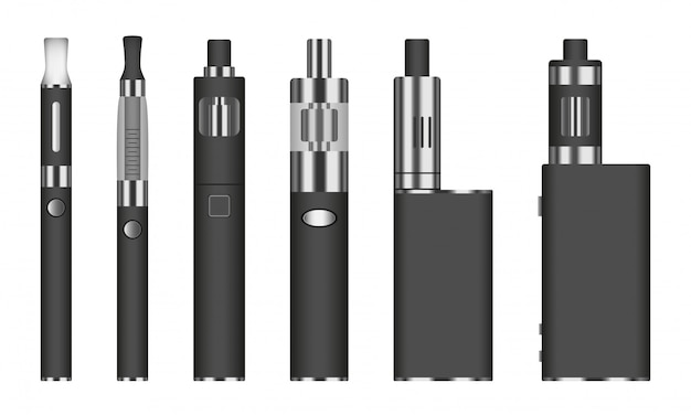Jeu d'icônes de cigarettes électroniques, style réaliste
