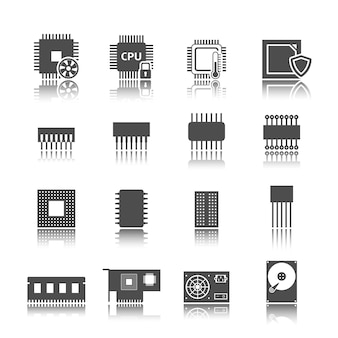 Jeu d'icônes de circuit informatique