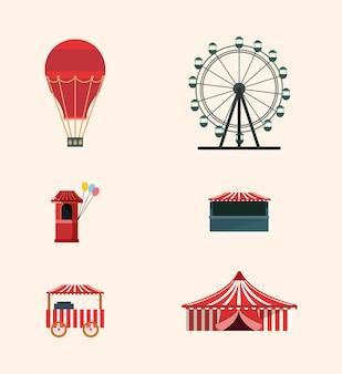 Jeu d'icônes de cirque de carnaval