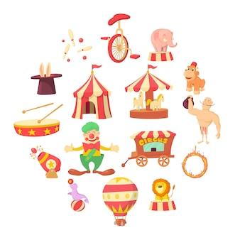 Jeu d'icônes de cirque, style cartoon