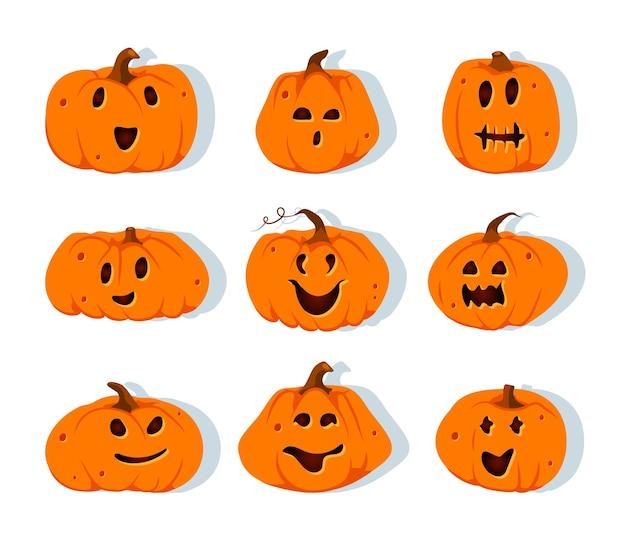 Jeu d'icônes de citrouilles d'halloween. émotion de différents visages sculptés. sourire de citrouille de coupe drôle effrayant.