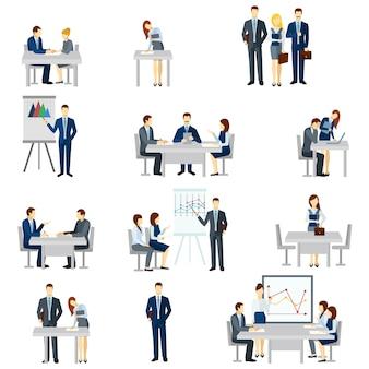 Jeu d'icônes de coaching d'affaires