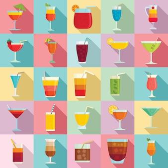 Jeu d'icônes de cocktail, style plat