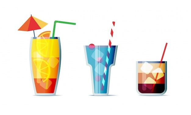 Jeu d'icônes de cocktails style de conception de dessin animé. trois boissons alcoolisées populaires pour le menu de conception
