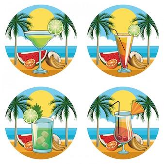 Jeu d'icônes de cocktails tropicaux