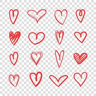 Jeu d'icônes de coeur dessiné à la main art de croquis de coeur rouge