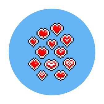 Jeu d'icônes de coeur valentine pixel art dessin animé.