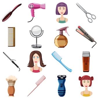 Jeu d'icônes de coiffeur, style cartoon