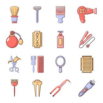 Jeu d'icônes de coiffeur