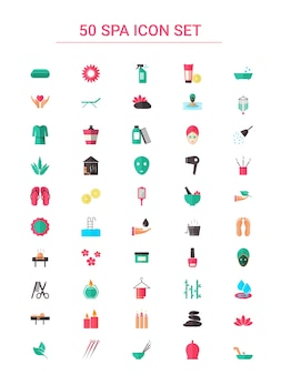 Jeu d'icônes coloré 50 spa dans un style plat.