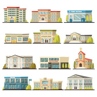 Jeu d'icônes colorées de bâtiments municipaux