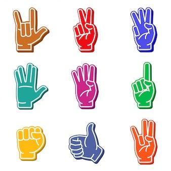 Jeu d'icônes colorées de doigts de mousse