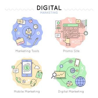 Jeu d'icônes colorées de marketing numérique