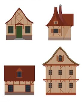 Jeu d'icônes colorées de types de maisons à colombages