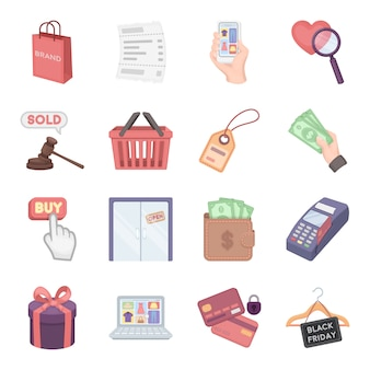 Jeu d'icônes de commerce dessin vectoriel. illustration vectorielle de commerce de toilettage.