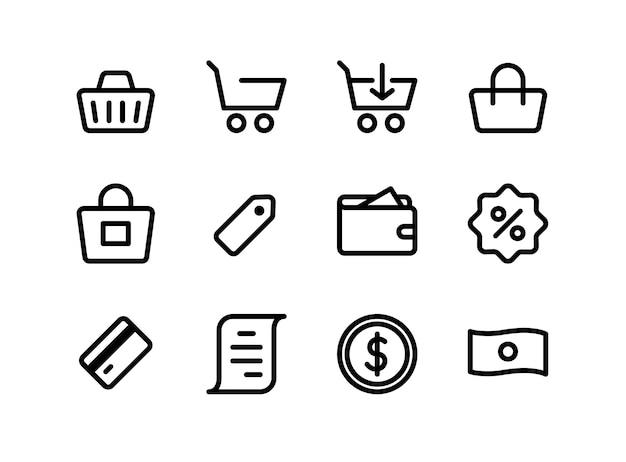 Jeu d'icônes de commerce électronique et de shopping