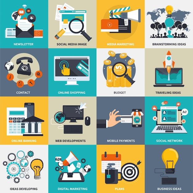 Jeu d'icônes de commerce, de gestion et de technologie