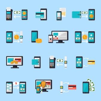 Jeu d'icônes de commerce mobile